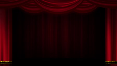 perdeler : Stage curtain opening and closing. Open left and right. With background. Stok Video