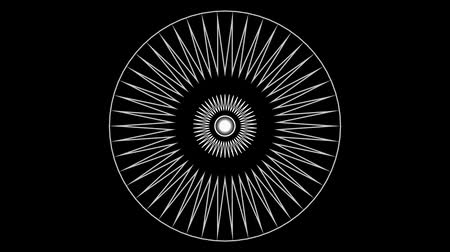 concêntrico : Concentric and radial animation on a black background. Abstract geometric pattern.