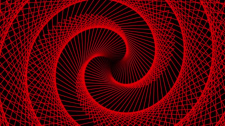 concêntrico : Triangle swirl wave of red on a black background. Abstract geometric pattern.