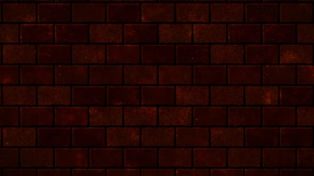 quebrado : Breaking red brick wall. Black and green background. All collapse. Vídeos