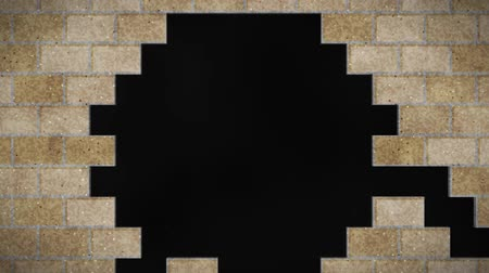quebrado : Breaking brown brick wall. Black and green background. Hole open. Vídeos