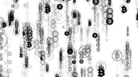 effects on brain : Digital rain of black bitcoin on white background. Characters falling down.