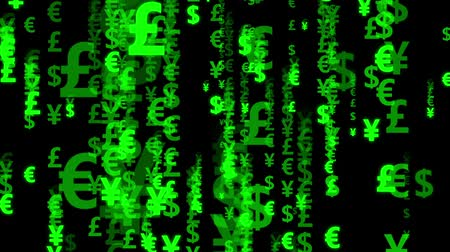 effects on brain : Digital rain of green currency symbol on black background. Characters falling down. Stock Footage