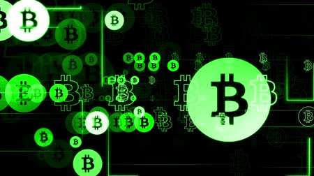 effects on brain : Horizontal movement of green characters on black background. Bitcoin and glow lines. Seamless loop. Stock Footage
