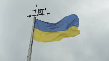 lew : Ukraine Flag with the emblem of the city of Lviv. Moving clouds in background. Flag moves from the strong wind.