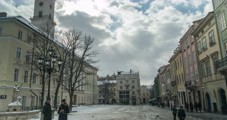 tramwaj : Center of old city Lviv, Ukraine. Time lapse of moving people through the street