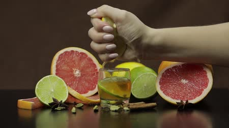 bourbon whisky : Woman squeezes juice from half of lemon fruit into a glass cup with alcohol cocktail. Fresh fruits in the background. Lime Grapefruit. Prepare a cocktail of whiskey, cognac or liqueur. Slow motion