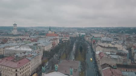 guildhall : Aerial Old City Lviv, Ukraine. Central part of old city. European City. Densely populated areas of the city. Lviv Opera. Panorama of the ancient town