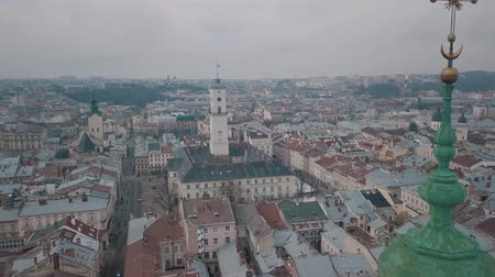 guildhall : Aerial Ratush after rain in Old City Lviv, Ukraine. Central part of old city. European City. Densely populated areas of the city. Town. Lviv central. Stock Footage