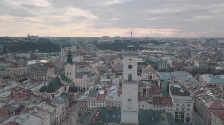 lviv : LVOV, UKRAINE. Panorama of the ancient city. The roofs of old buildings. Ukraine Lviv City Council, Town Hall, Ratush. Streets aerial view Stock Footage
