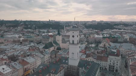guildhall : LVOV, UKRAINE. Panorama of the ancient city. The roofs of old buildings. Ukraine Lviv City Council, Town Hall, Ratush. Streets aerial view Stock Footage