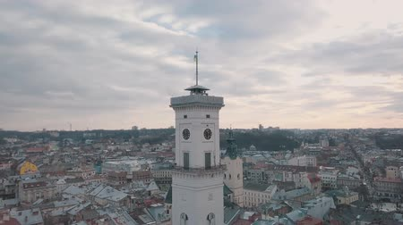 galice : LVOV, UKRAINE. Panorama of the ancient city. The roofs of old buildings. Ukraine Lviv City Council, Town Hall, Ratush. Streets aerial view Vidéos Libres De Droits