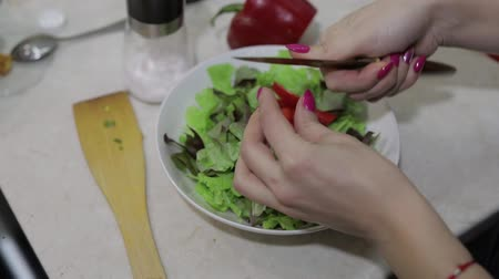 capsicum : Female hands cut a sweet red bell Pepper to a salad. Slicing salad, the concept of healthy food. Stock Footage