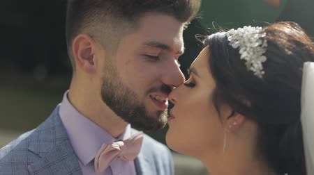raios de sol : Wedding couple in sunbeams. Happy family. Man and woman in love. Wedding day. Lovely groom and bride. Close-up portrait shot. Slow motion Stock Footage