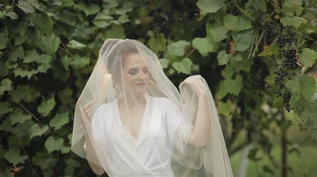 preparált : Beautiful and lovely bride in night gown and veil in the grape garden. Pretty and well-groomed woman in bedroom. Wedding morning. Slow motion
