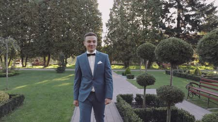 cravatta : Handsome groom walking through the park. Well-groomed man. Wedding day. Slow motion