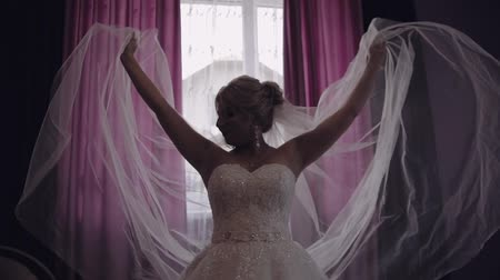 veli : Beautiful and lovely bride in wedding dress. Pretty and well-groomed woman. Stand near window. Silhouette. Slow motion