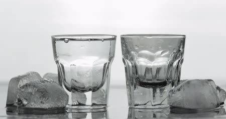 wódka : Pouring up two shot of vodka from a bottle into glass against white background with ice cubes. Pour of alcohol drink vodka tequila