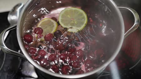 смородина : Add the slice of lemon in pan with water and berries. Red and black currant, raspberry. Cooking compote. Kitchen. Slow motion Стоковые видеозаписи