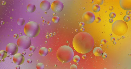 marbling : Fantastic structure of colorful bubbles. Chaotic motion. Abstract colorful paint. Top view. Movement of bubbles in the liquid. Oil surface multicolored background. Macro Stock Footage