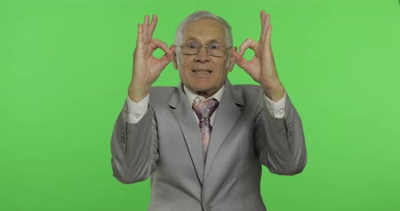 yedek : Elderly businessman showing ok gesture. Old man in formal wear giving okay sign on chroma key background. Symbol of agreement and success. Green screen background Stok Video