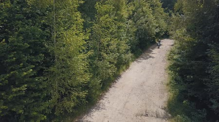 çakıl : Extreme motorcyclist rides on road in the forest. Motocross. Motosport. Freedom. Stock footage of motorcycle. Aerial view