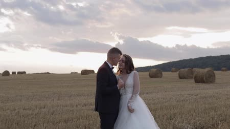 závoj : Lovely young caucasian bride and groom on the field. Sunset. Wedding couple. Happy family. Newlyweds. Man and woman in love. Slow motion