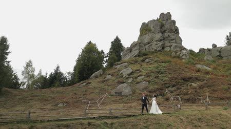 новобрачный : Beautiful bride with groom walking near mountain hills. Wedding couple. Happy family. Man and woman in love. Lovely groom and bride. Wedding day. Slow motion Стоковые видеозаписи