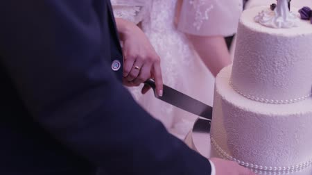 personalizado : Newlyweds cut wedding cake. A bride and a groom is cutting their wedding cake. Hands of bride and groom cut of a slice of a wedding cake. Slow motion Vídeos