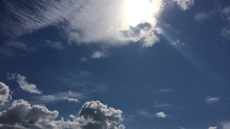 background material : Blue sky and sunshine and clouds time-lapse