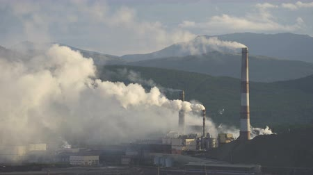 metallurgical : Industry pipes pollute the atmosphere with smoke Stock Footage