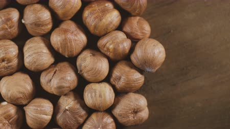 elâ : Hazelnuts close-up. Smooth rotation. Filler for walnut paste and chocolate. Stok Video