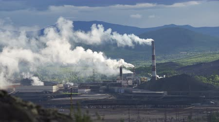 metallurgical plant : Industry pipes pollute the atmosphere with smoke Stock Footage