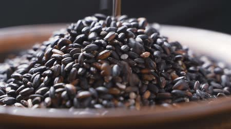 ジャスミン : Grains of black rice fall into a clay cup on a black background. Slow motion close up