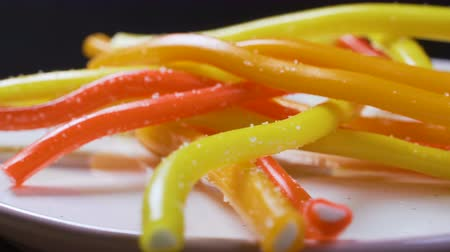 sakızlı : Footage of bright tasty colourful marmalade jelly candies rotate. 4k video Stok Video