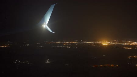 View from the airplane window. Night time.