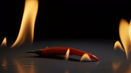 Burning hot red chili pepper - slow motion