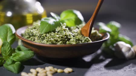 parmigiano : Genoese pesto of fresh basil, pine nuts, extra virgin olive oil, grated cheese and fresh pecorino cheese