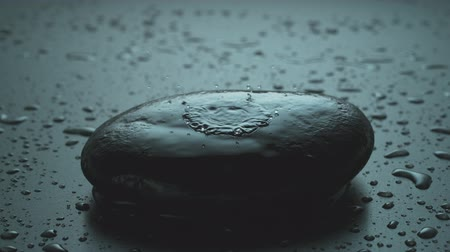 Raindrop Falls on a Zen Stone in Slow Motion Stock Footage