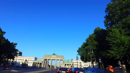 Berlin, Germany: Car Driving on Strasse des 17. Juni, Berlin, heading toward Brandenburger Tor. Gyro-stabilized Camera.