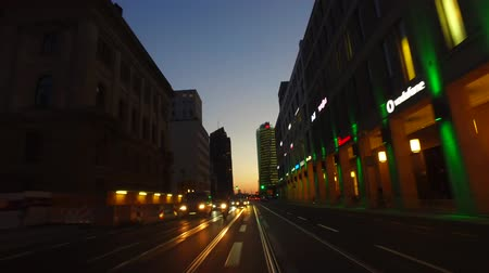 Berlin, BerlinGermany, 2017-09-10: POV Car Driving in Berlin Mitte at Sunset, heading toward Potsdamer Platz. Gyro-stabilized camera.