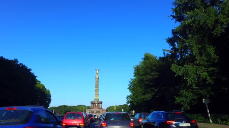 Berlin, Germany: Car Driving on Strasse des 17. Juni, Berlin, heading toward Siegessäule. Gyro-stabilized Camera.