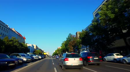 Berlin, Germany: Car Driving on Kaiserdamm, light Traffic Stock mozgókép