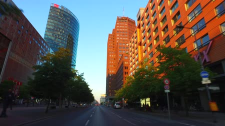 Car Driving through Berlin Mitte passing Potsdamer Platz in direction Alexanderplatz, gyro-stabilized camera. Stock Footage