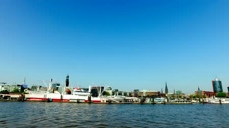 Hamburg Skyline, Germany - view from the river over downtown and harbor.