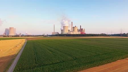 Aerial Shot Of Coal Fired Power Station, North Rhine-Westphalia, Germany Stock Footage