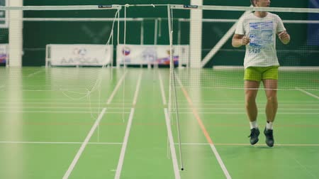 birdie : Russia, Novosibirsk, December 29, 2018. Athletes train in indoor badminton courts