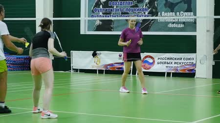 углы : Russia, Novosibirsk, December 29, 2018. Athletes train in indoor badminton courts