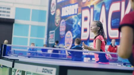 Russia, Anapa, 2018: Summer gathering of young athletes in table tennis. Competitions in between the children. Preparation for competitions in table tennis Stok Video