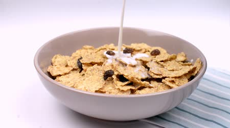 flocos de milho : dry breakfast cereal healthy food poured with fresh milk Stock Footage